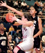 Shayla Scott defends against Oakland
