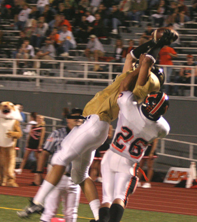 Jon Ditto makes a spectacular jumping TD catch - 13 yards - against Latrobe, Sept. 23, 2005
